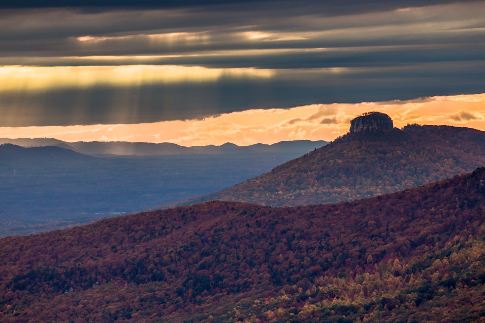 Rapt Journal Crepuscular Rays over Pilot Mountain